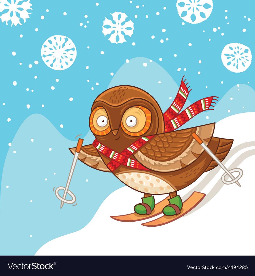 Cute cartoon owl skiing and having fun vector
