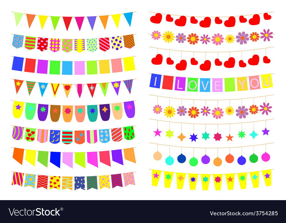 Set of festive decorations on the ropes vector