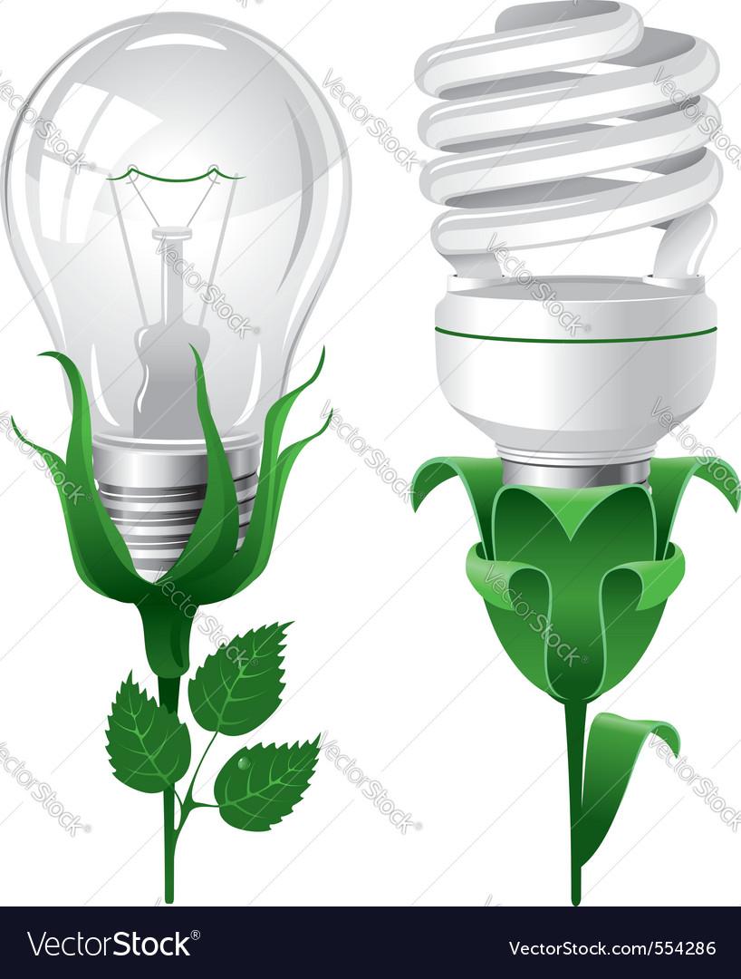 Ecological lightbulbs set concept vector