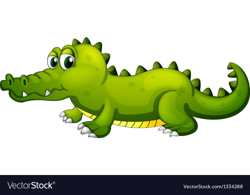 A giant green crocodile vector