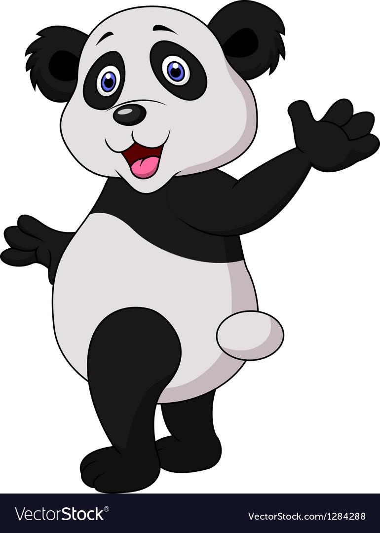 Cute panda cartoon waving hand vector