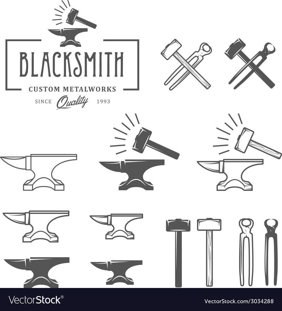 Vintage blacksmith labels and design elements vector