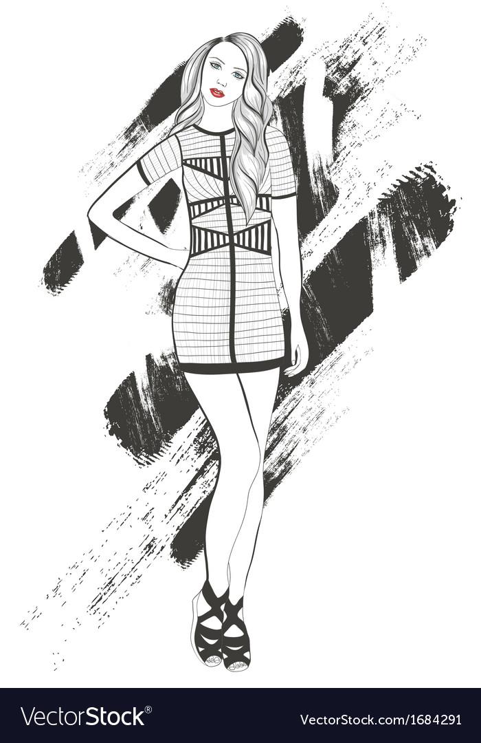 Young girl fashion vector