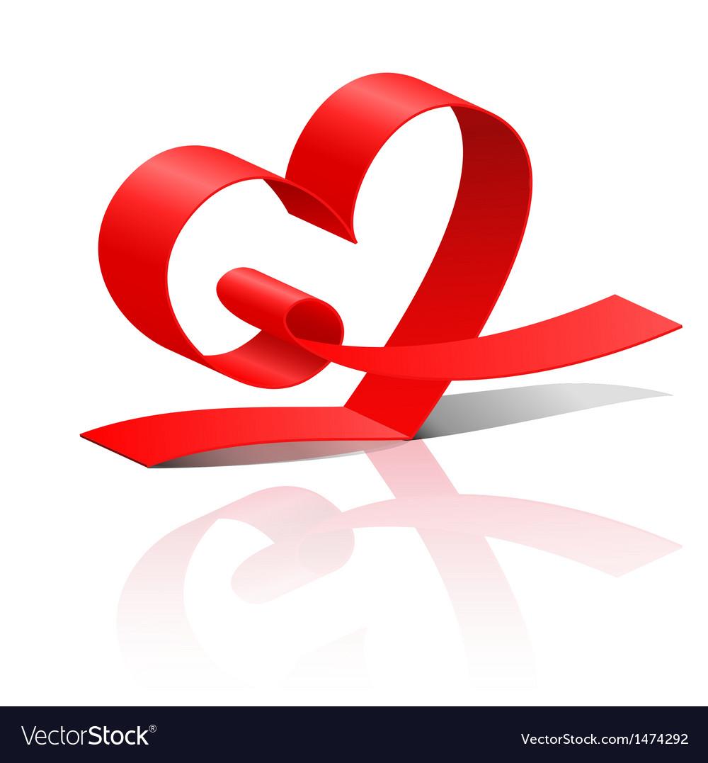 Red ribbon heart vector