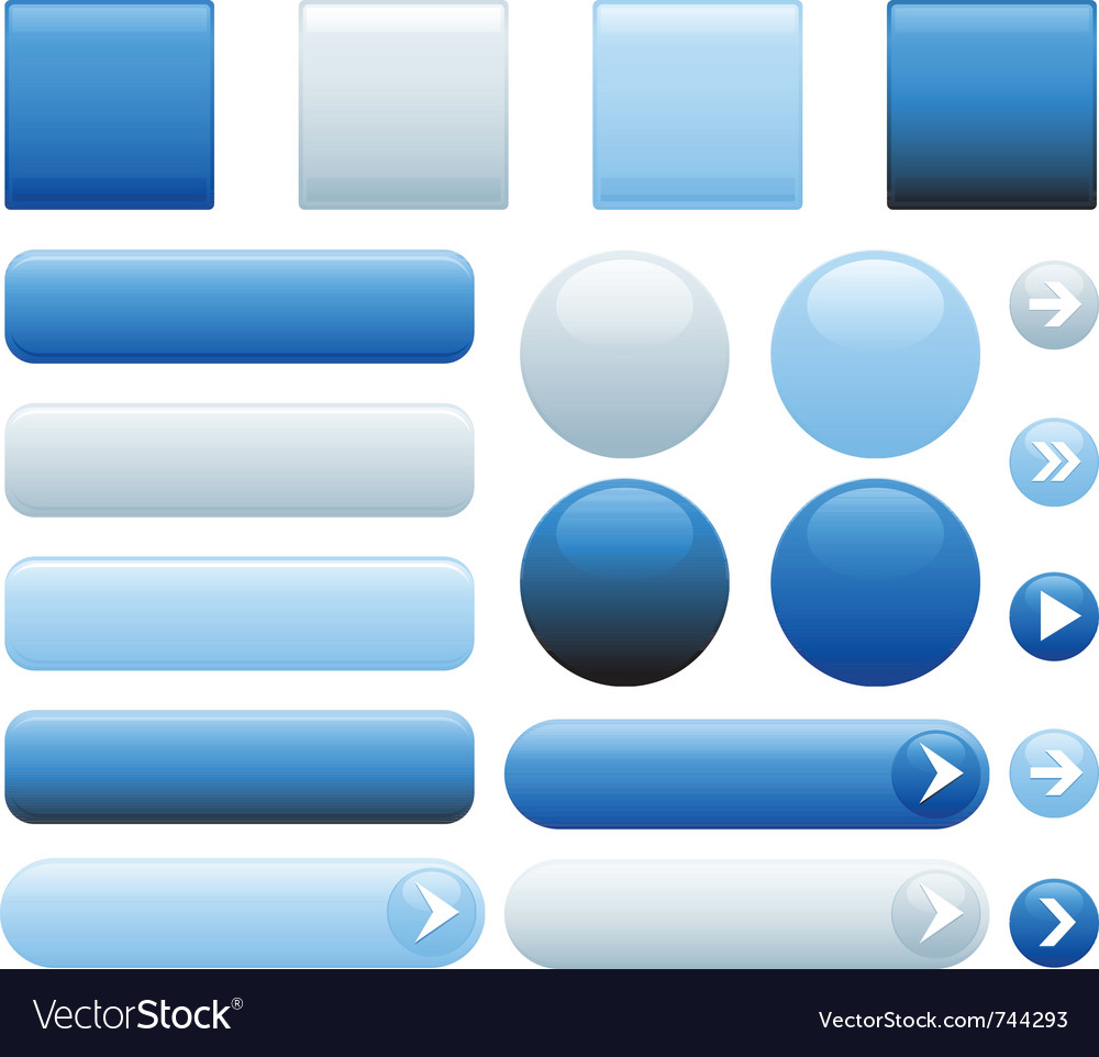 Blank web glossy buttons vector