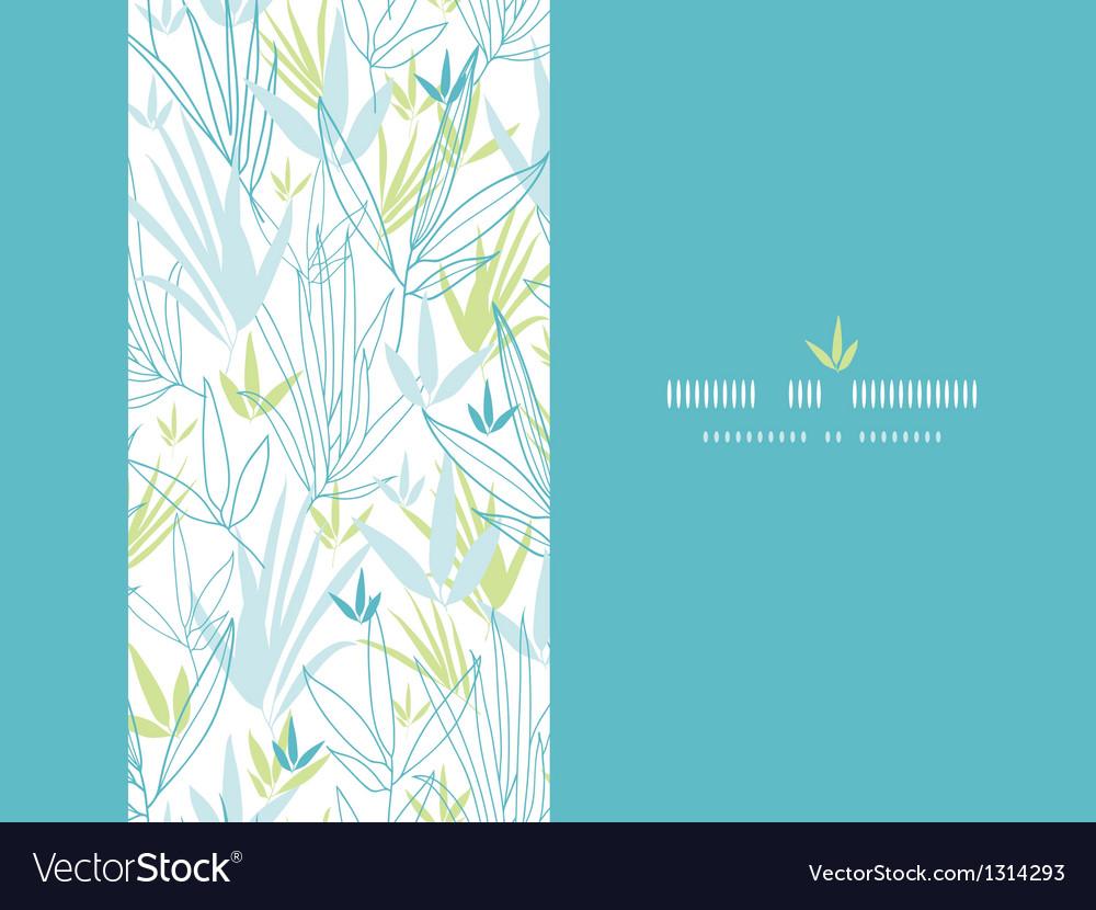 Blue bamboo branches vertical decor background vector