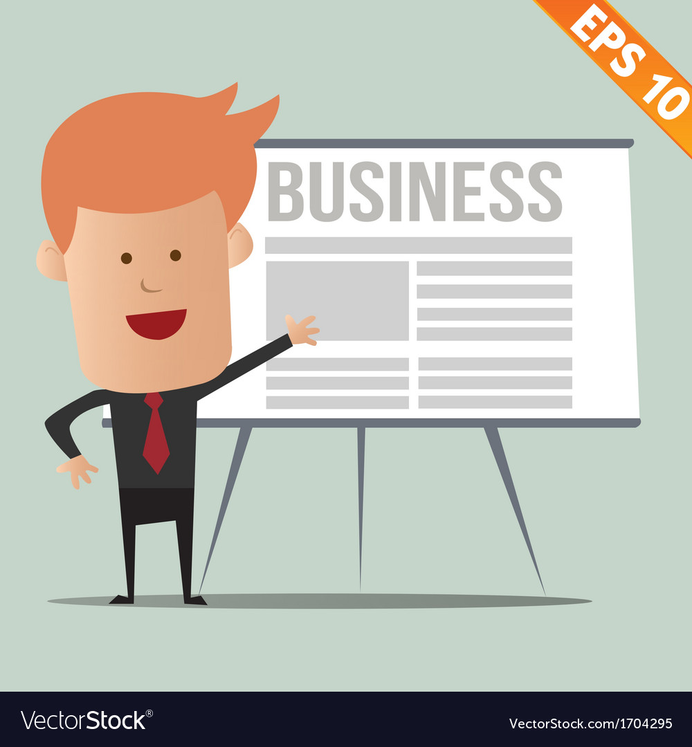 Cartoon business man present information - - vector