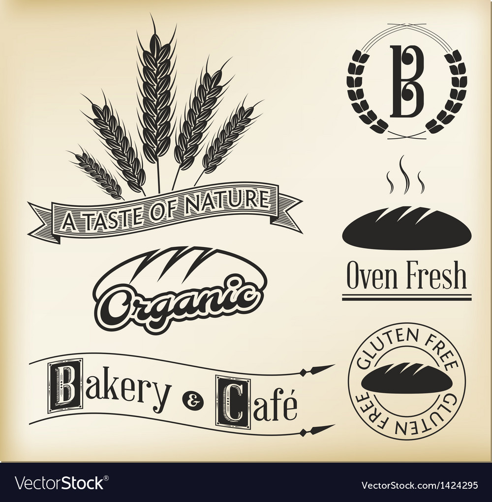 Organic bakery labels vector