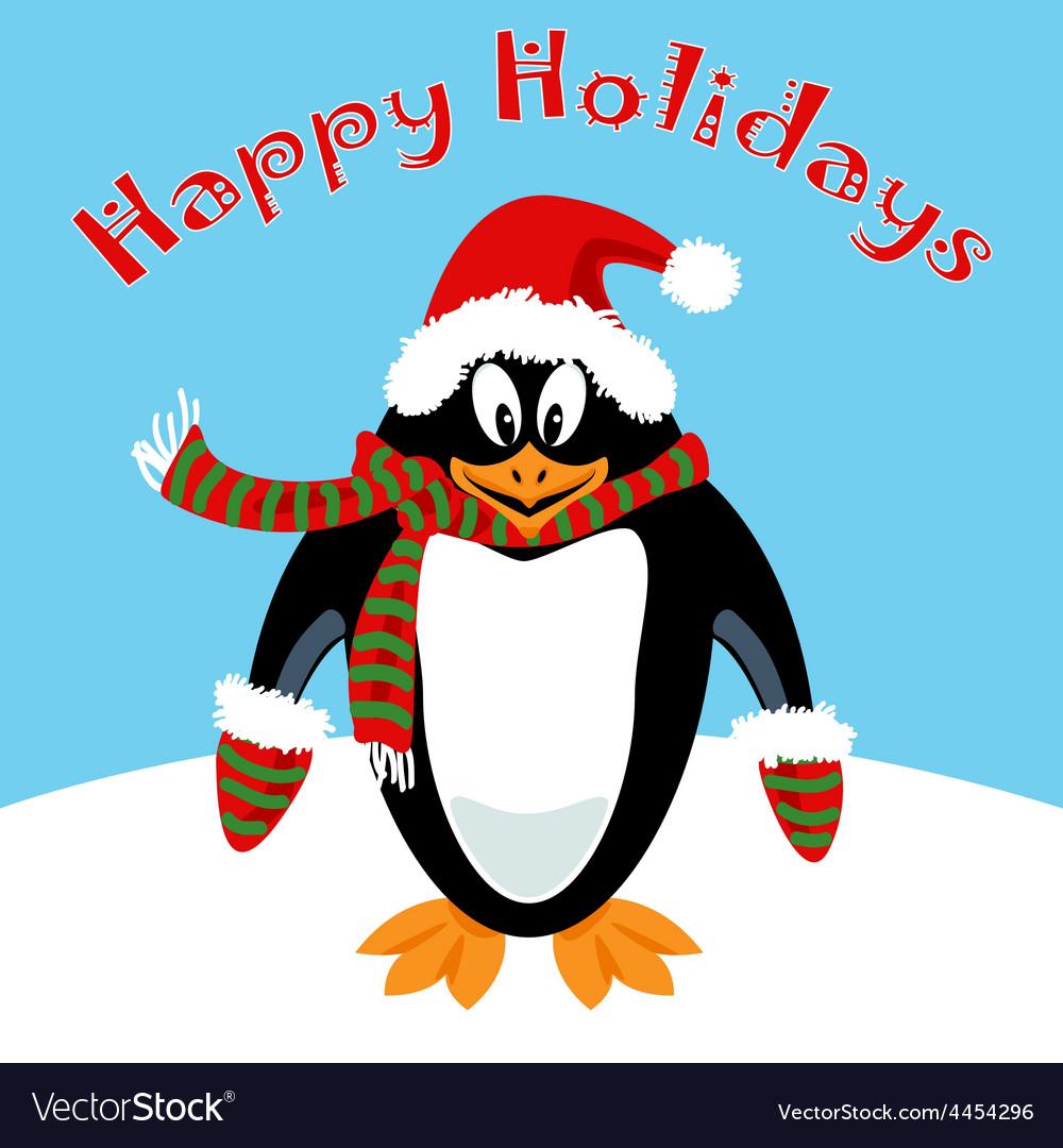 Cartoon penguin holiday card vector