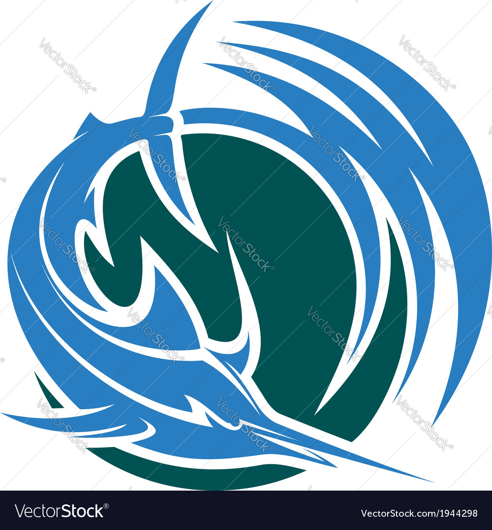 Leaping swordfish or marlin icon vector