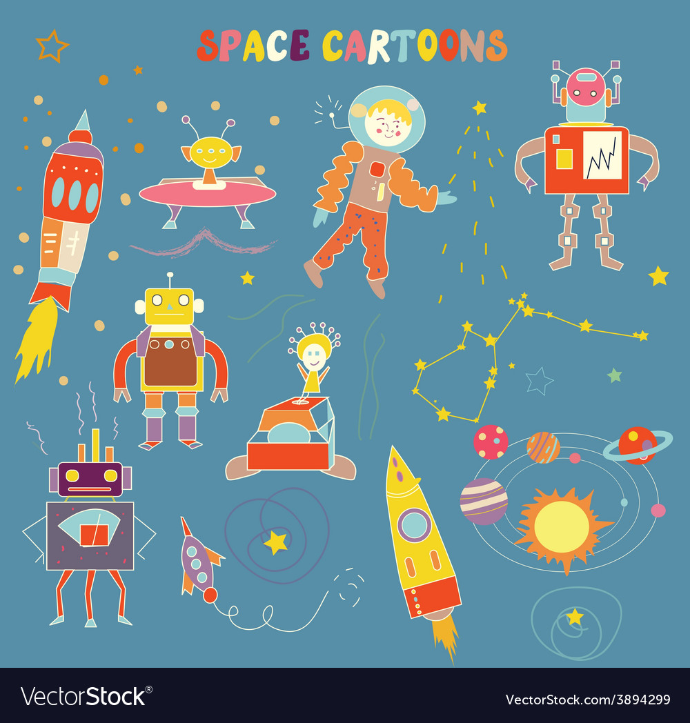 Space cartoons for child vector