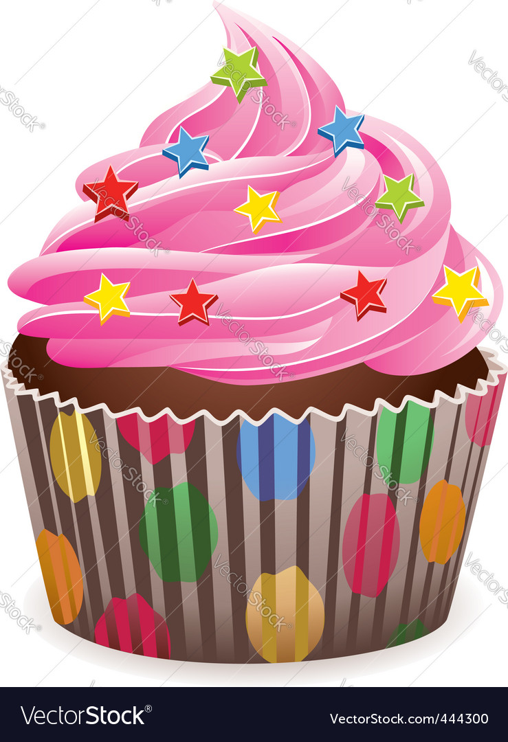 Cupcake with sprinkles vector