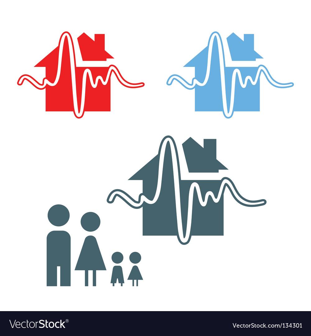 Earthquake insurance icon vector