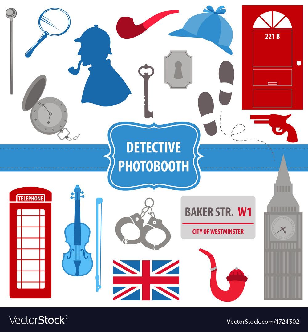 Detective sherlock party set - photobooth props vector
