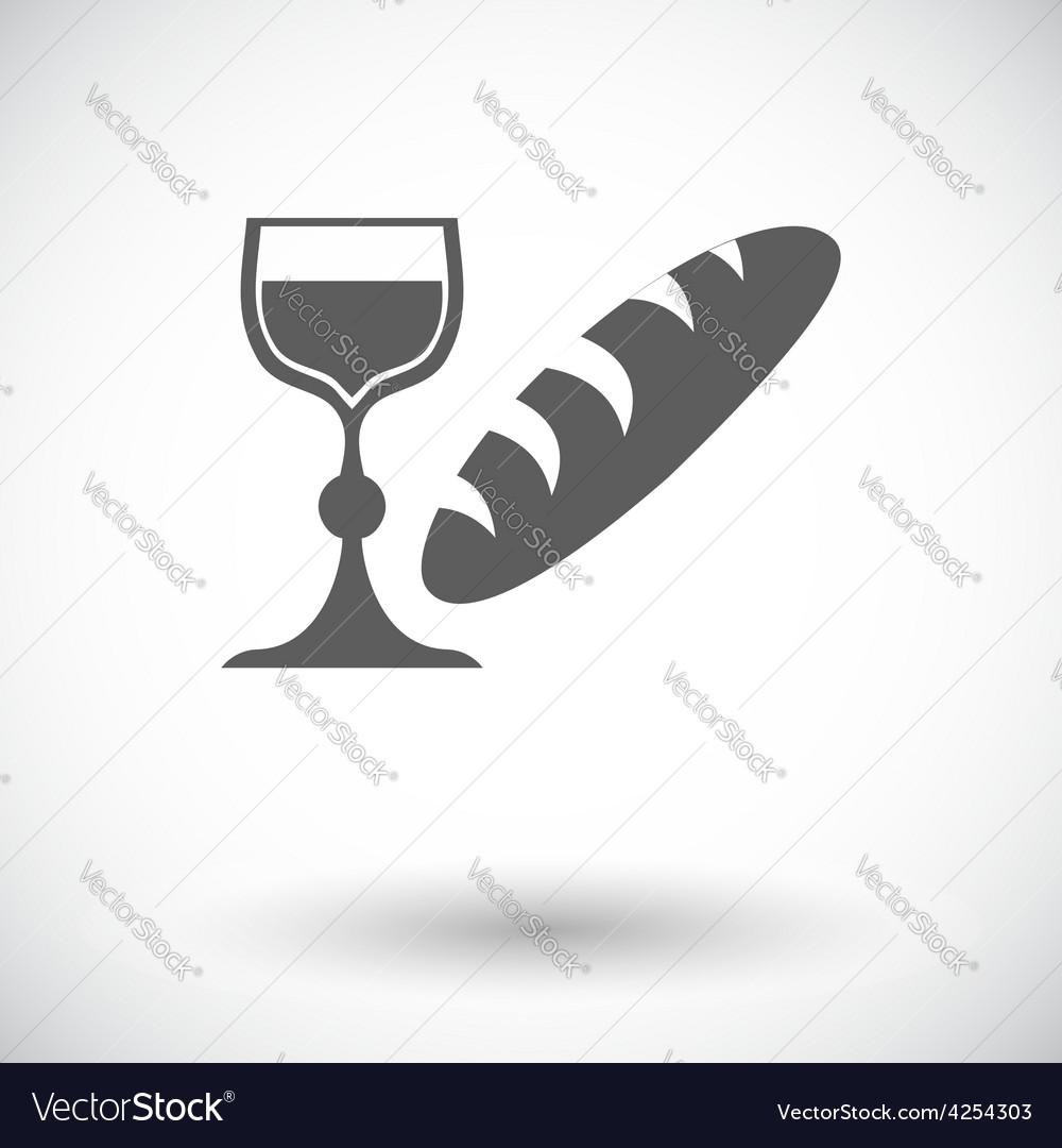 Bread and wine single icon vector