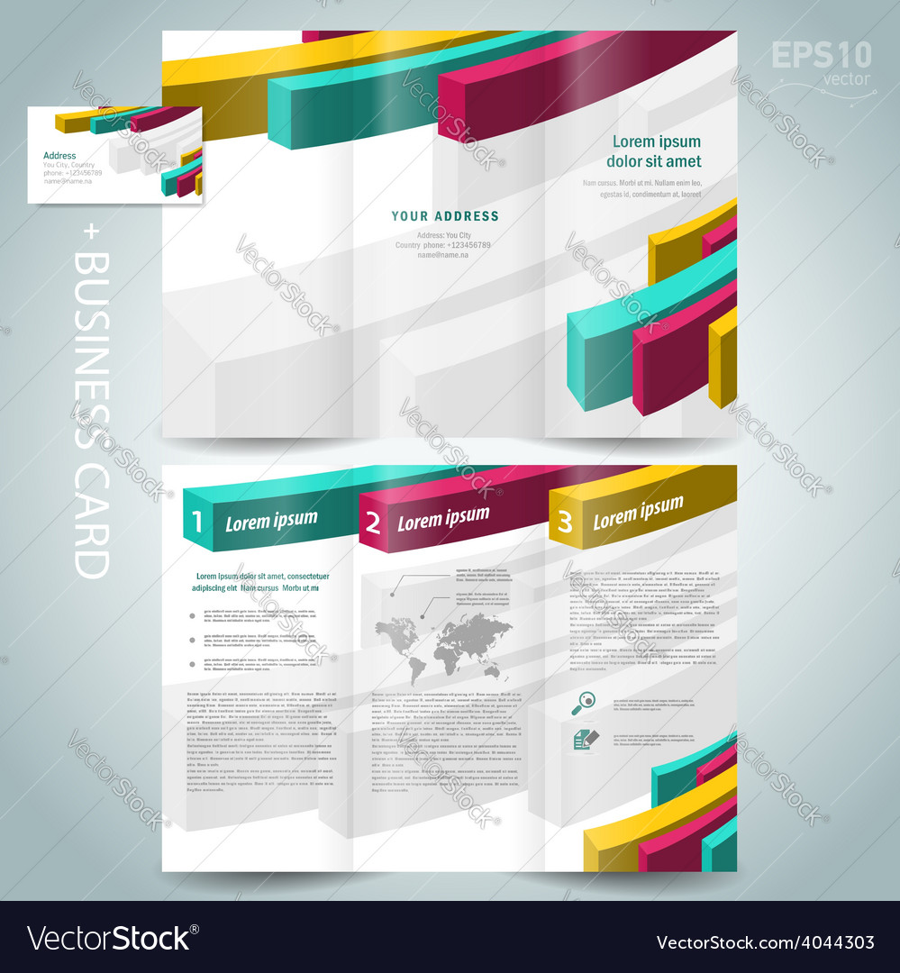 Colored action 3d line brochure design template vector