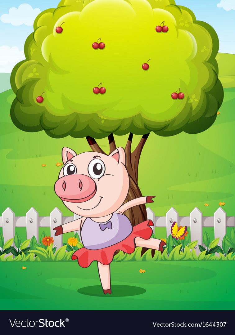 A female pig playing at the yard near the big tree vector