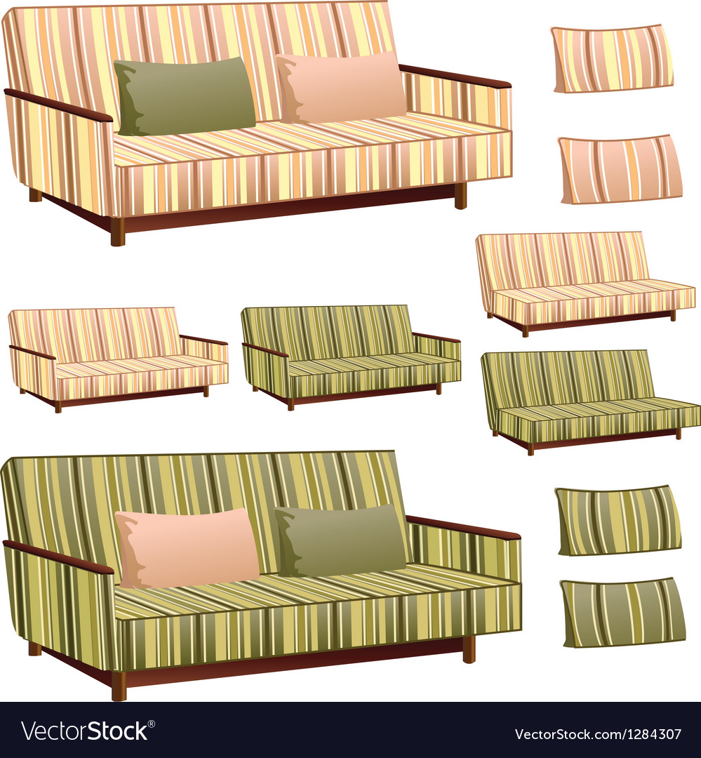 Sofa cream and green stripped vector