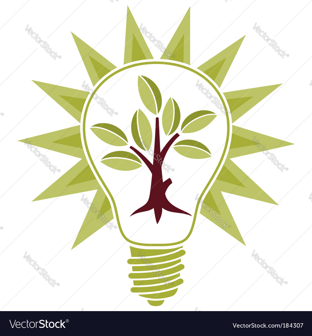 Tree and light bulb vector