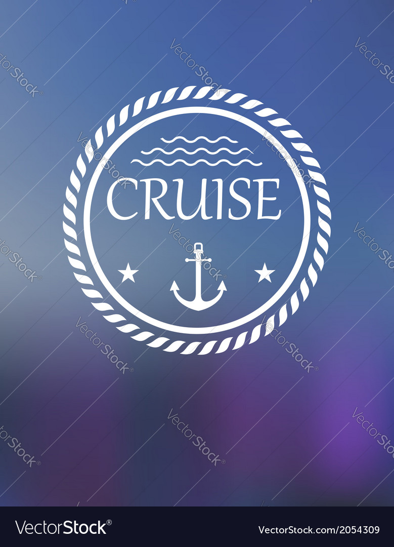 Cruise header with anchor and waves vector
