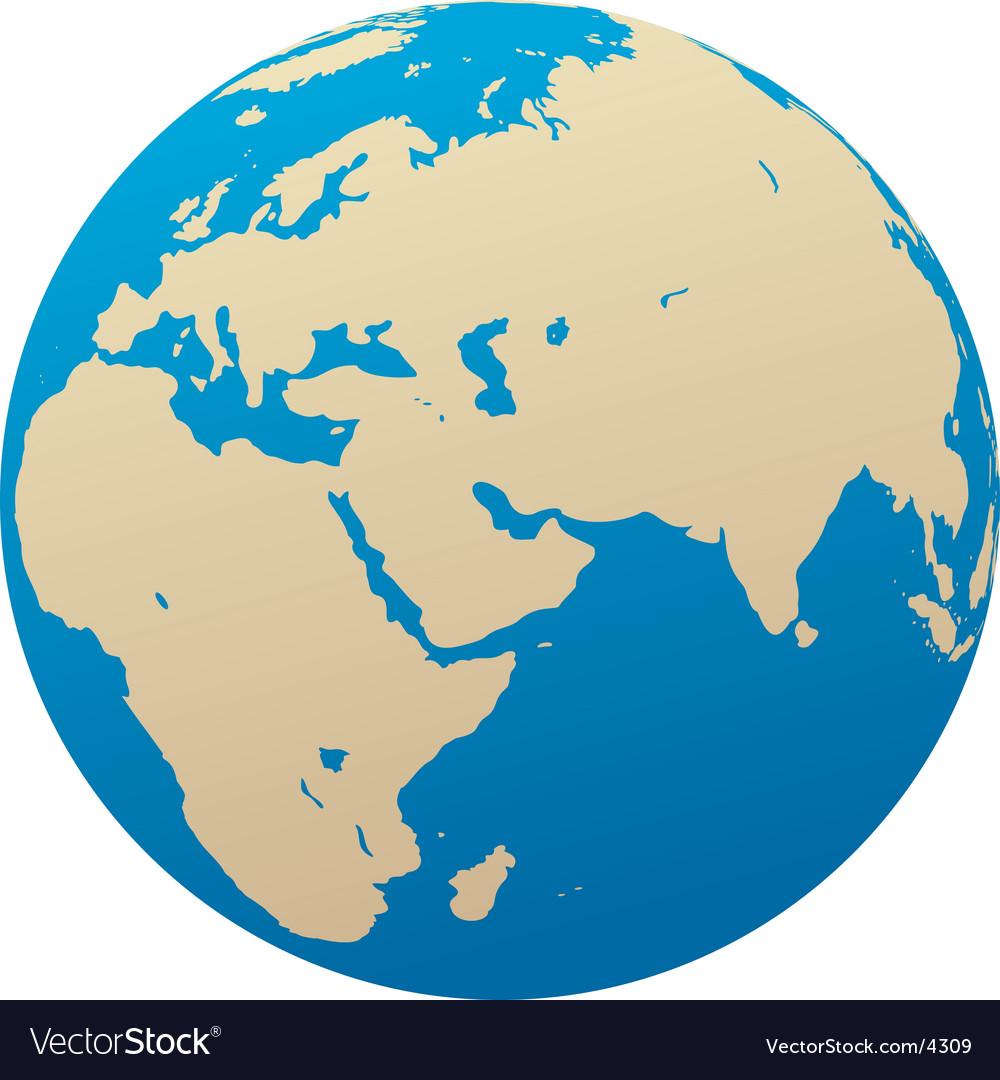 Globe africa eurasia vector