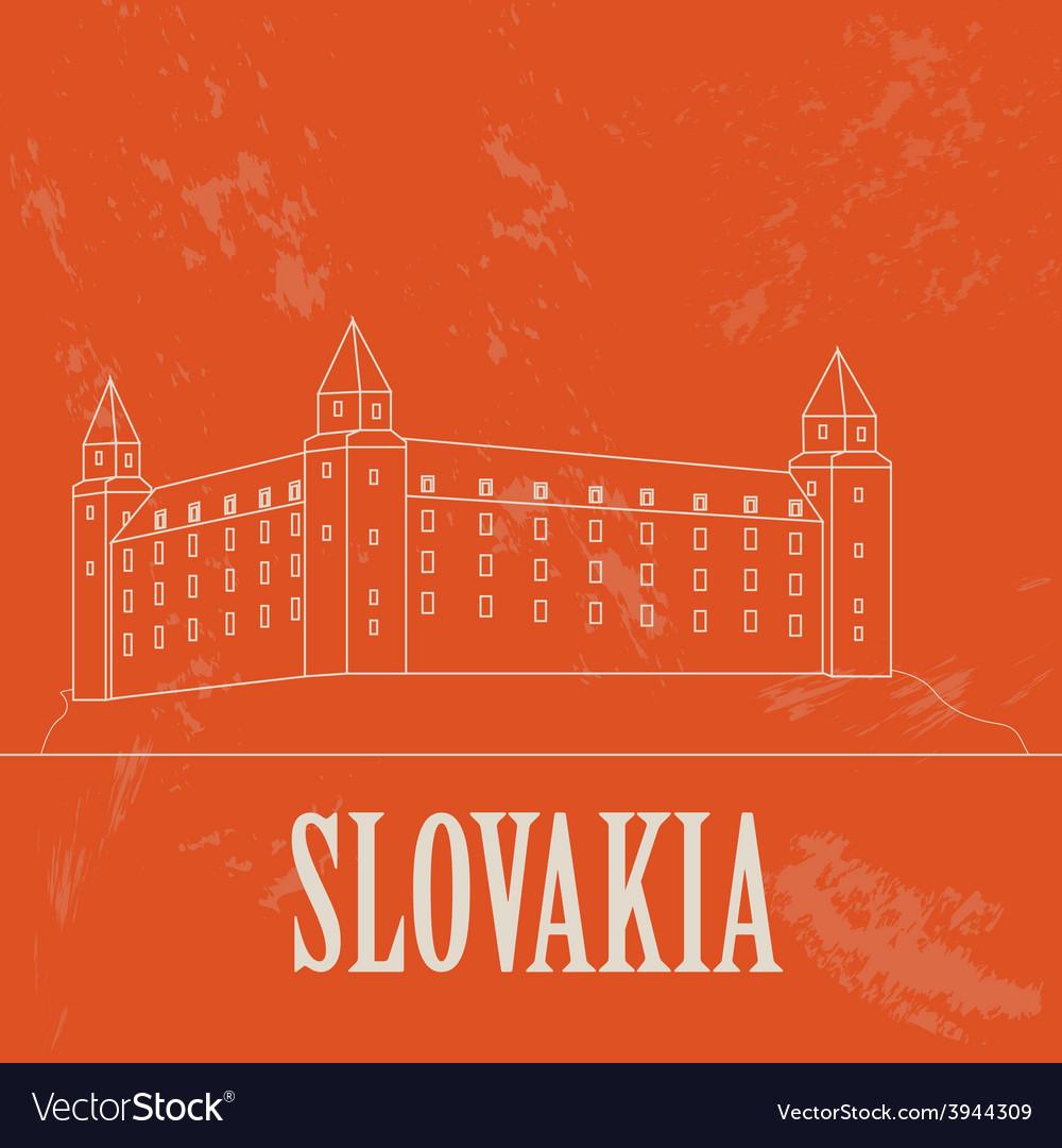 Slovakia landmarks retro styled image vector