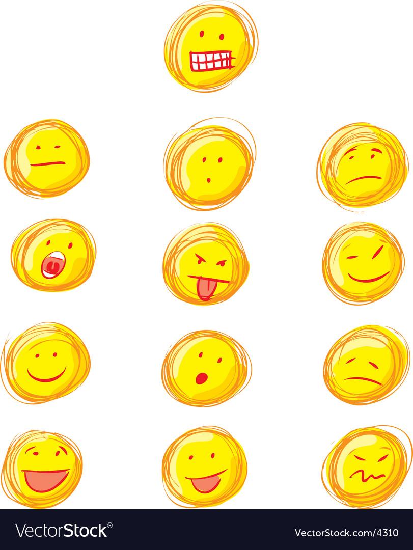 Set of grunge smiles vector