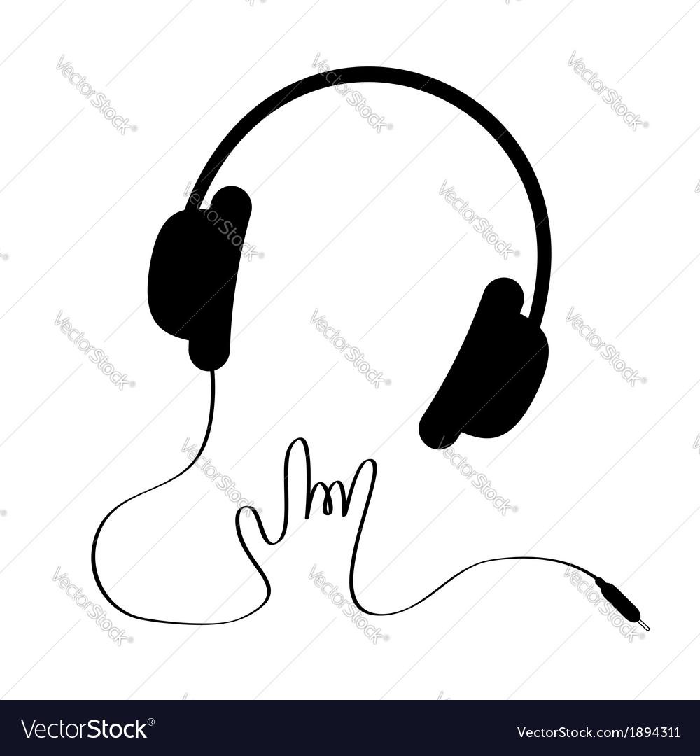 Black headphones with cord in shape of hand rock vector