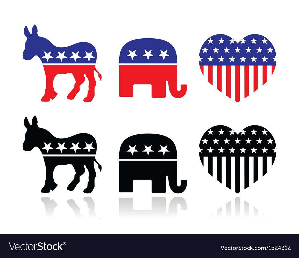 Usa political parties symbols vector