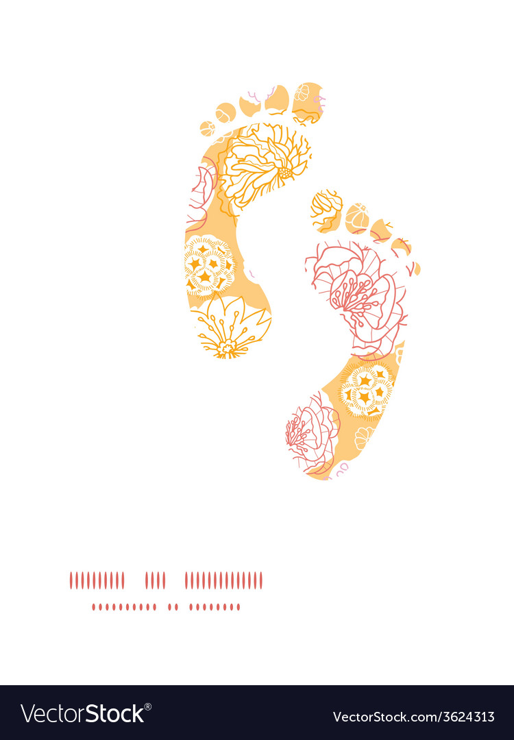 Warm day flowers footprints silhouettes pattern vector