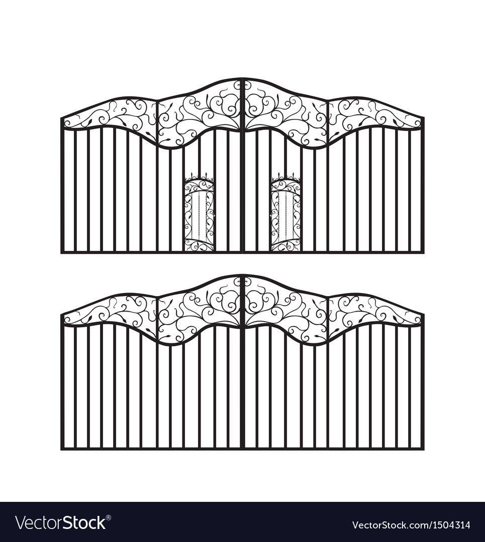 Forged gate with doors vector