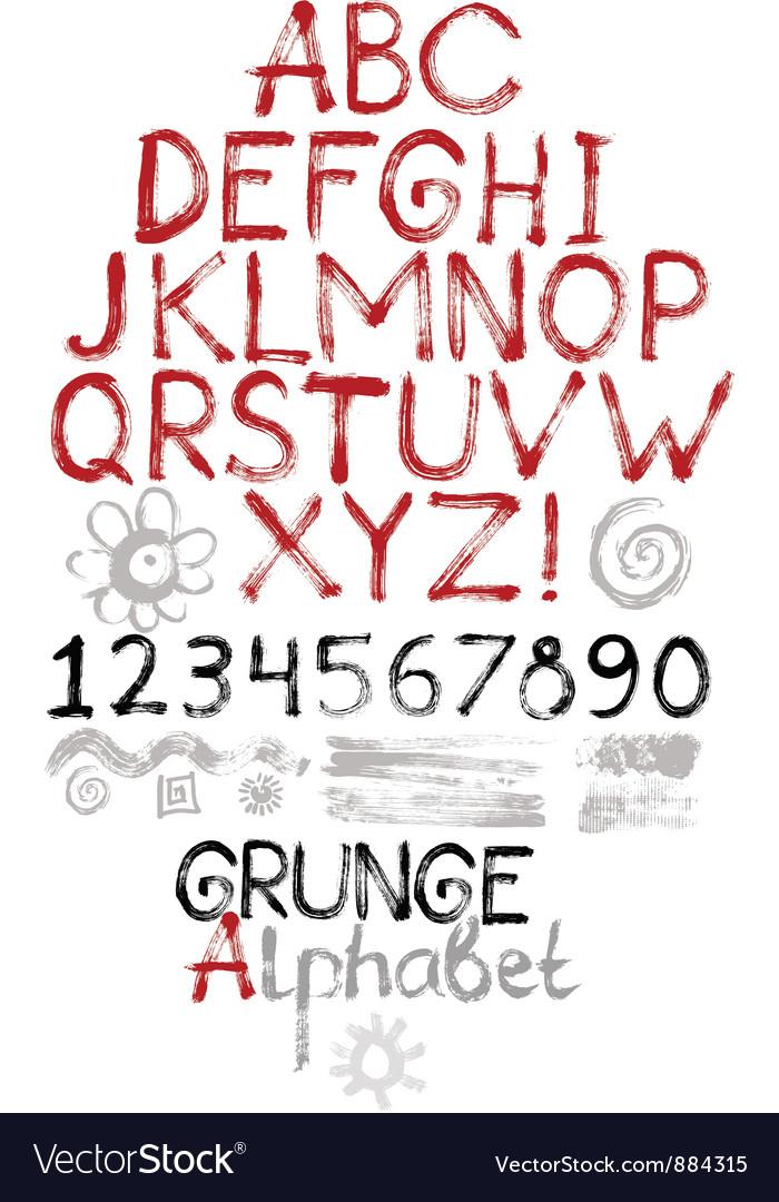Hand drawn grunge alphabet vector