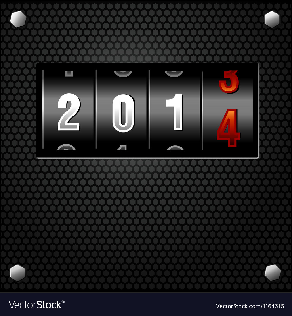 2014 new year analog counter vector