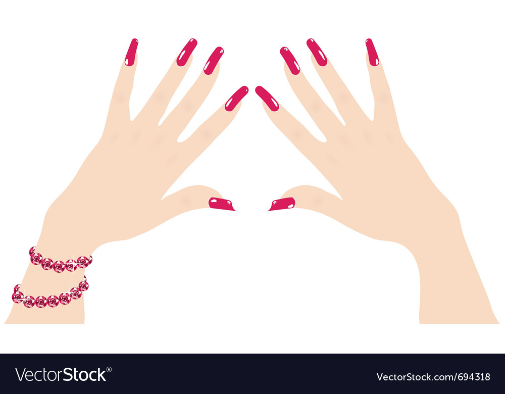 Woman hands with red fingernails and ruby bracelet vector