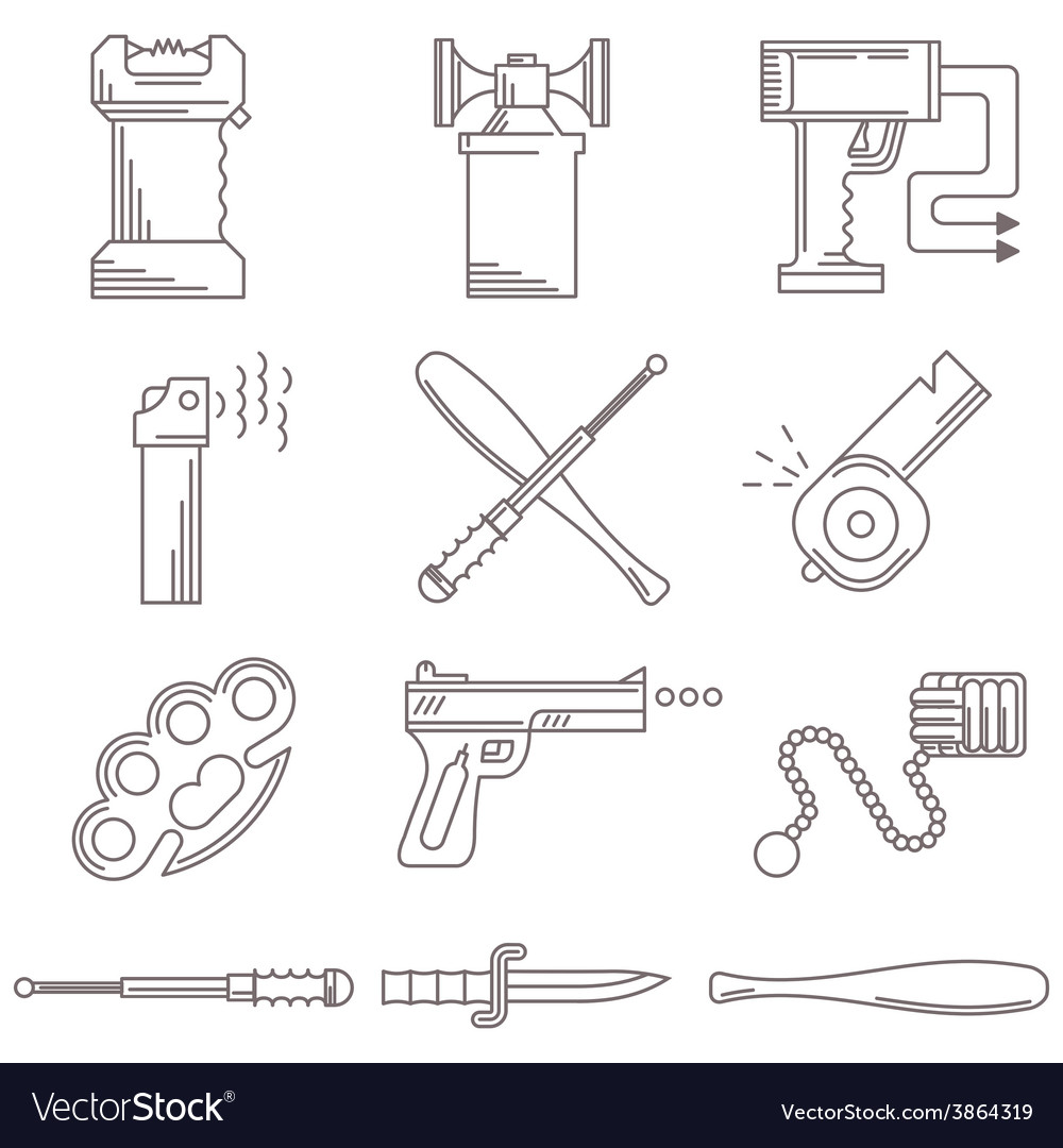 Black line icons for self defence vector