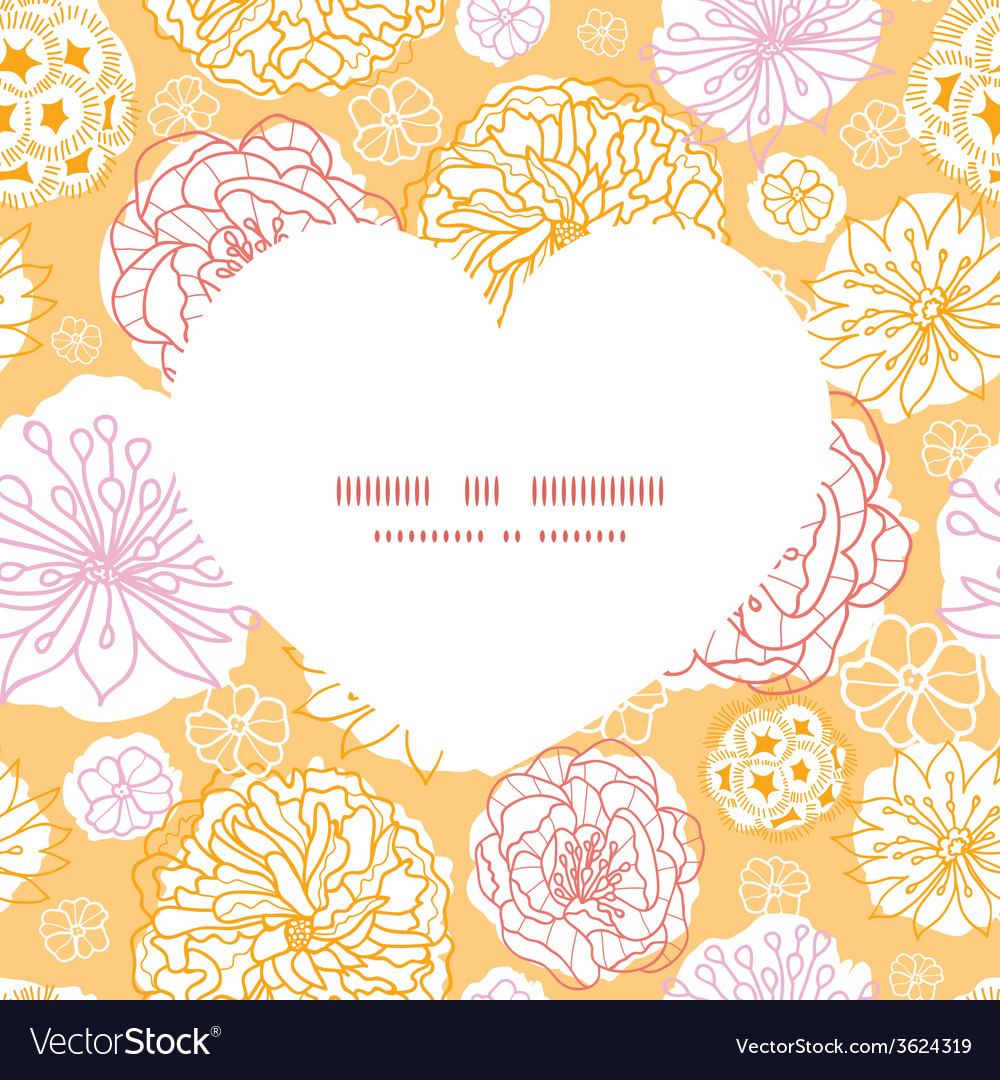 Warm day flowers heart silhouette pattern frame vector