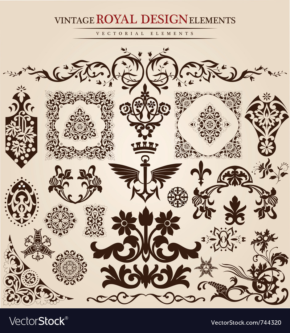 Flower vintage royal design vector