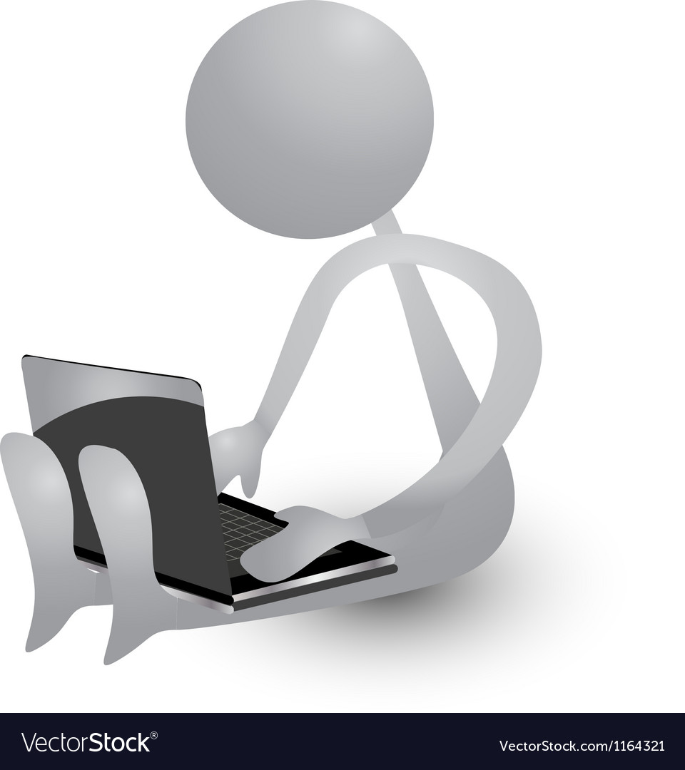 Person working with a laptop vector