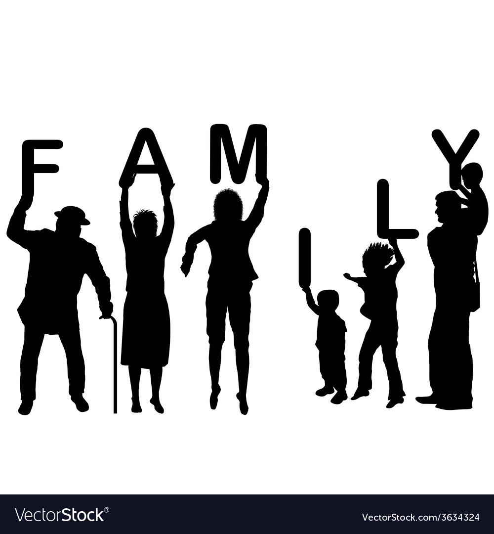 Family concept with children and parents holding vector