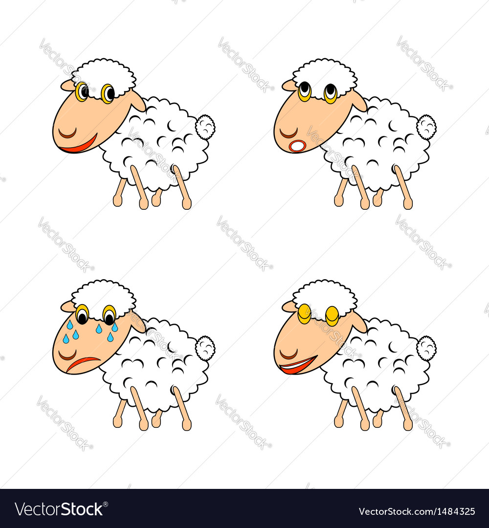 A funny sheep expressing different emotions vector