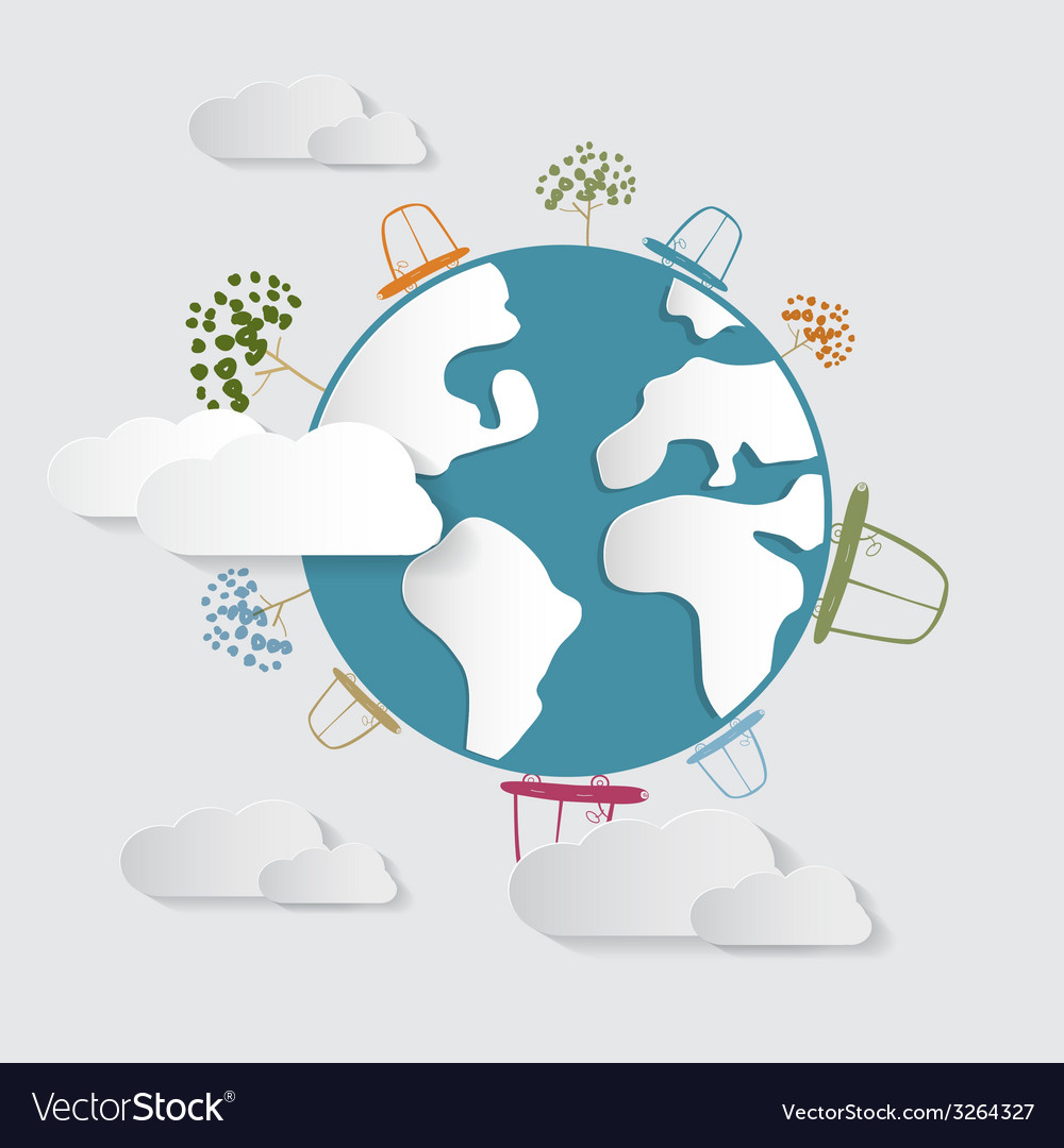 Paper cars clouds trees on earth globe vector