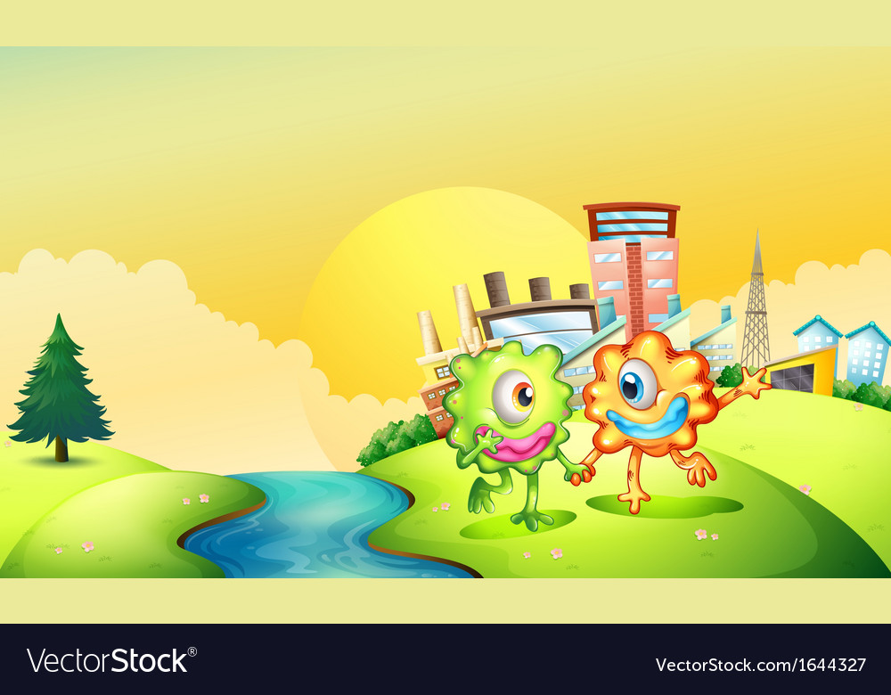 Two one-eyed monsters playing at the riverbank vector
