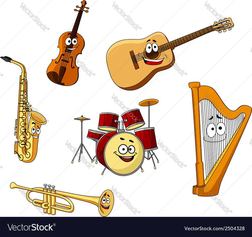 Set of classic musical instruments vector