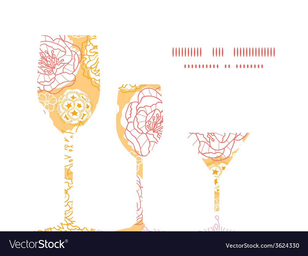 Warm day flowers three wine glasses silhouettes vector