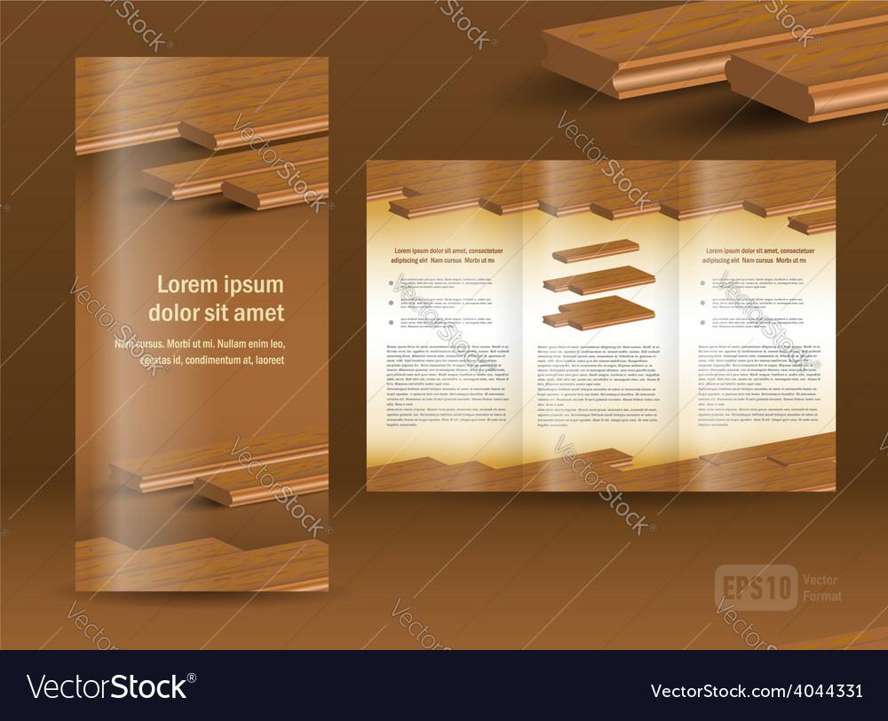 Flooring plank brochure design template folder vector