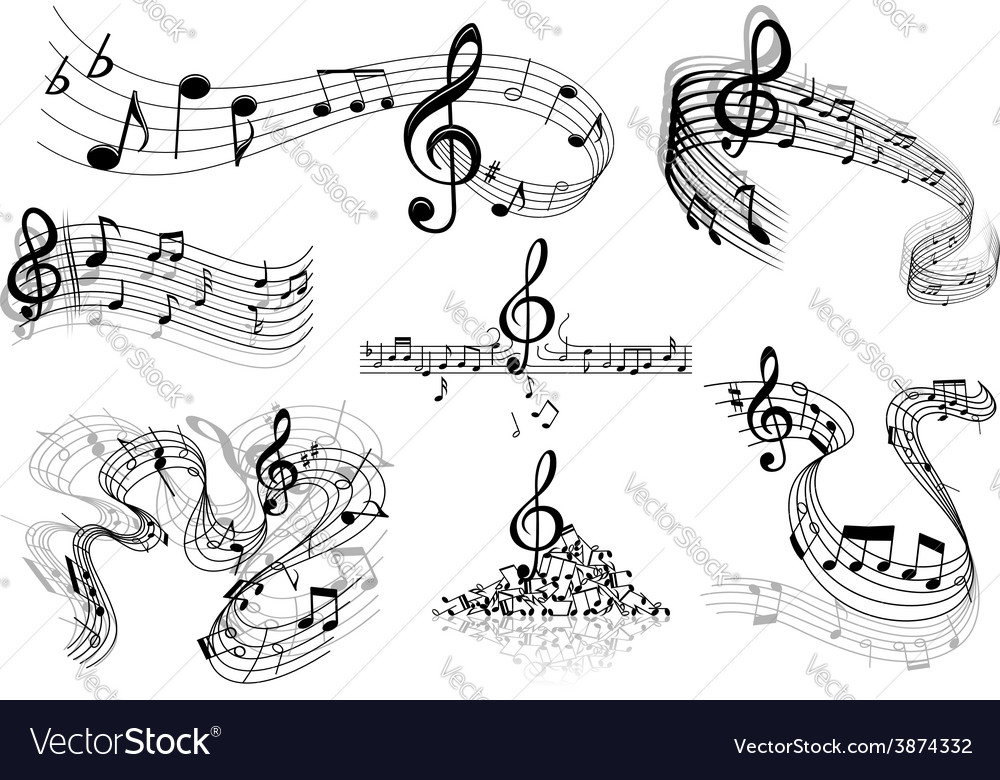Abstract music staves with notes vector