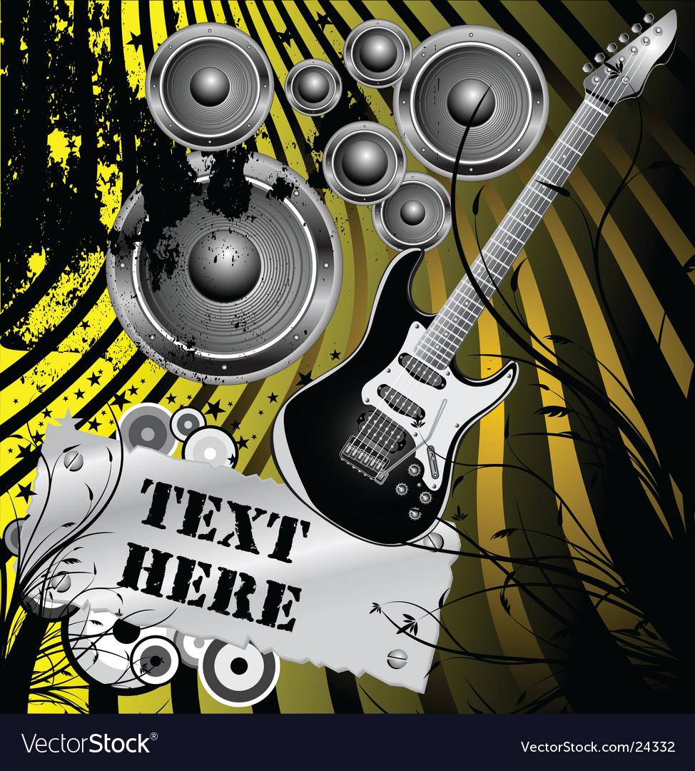 Floral grunge guitar background vector