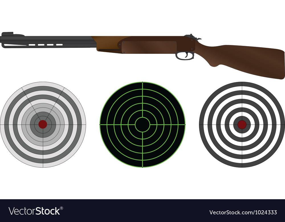 Sporting gun and targets vector