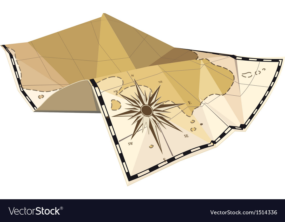 Folded map with wind rose vector