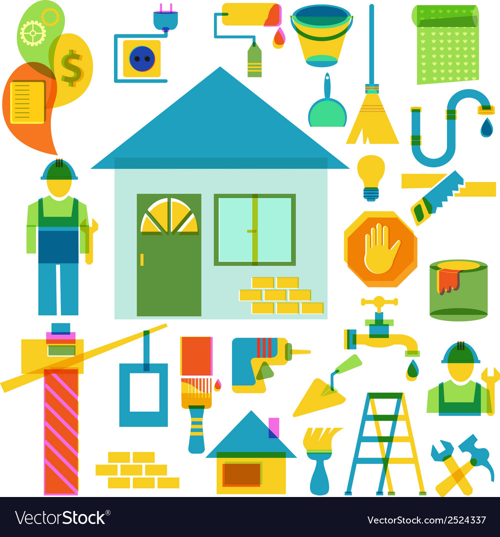 Build and repair color icon collection vector